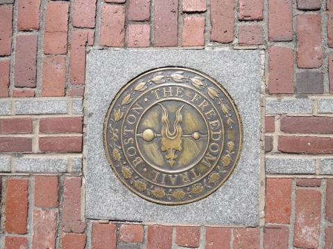 Boston's Freedom Trail marker in North Square