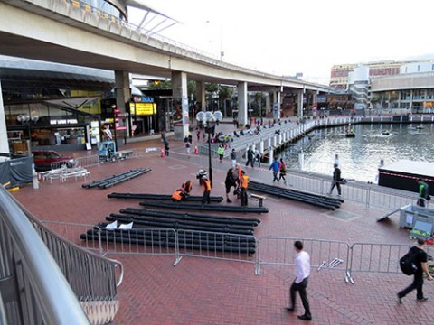 Workers setting up for a concert, Sydney, Australia
