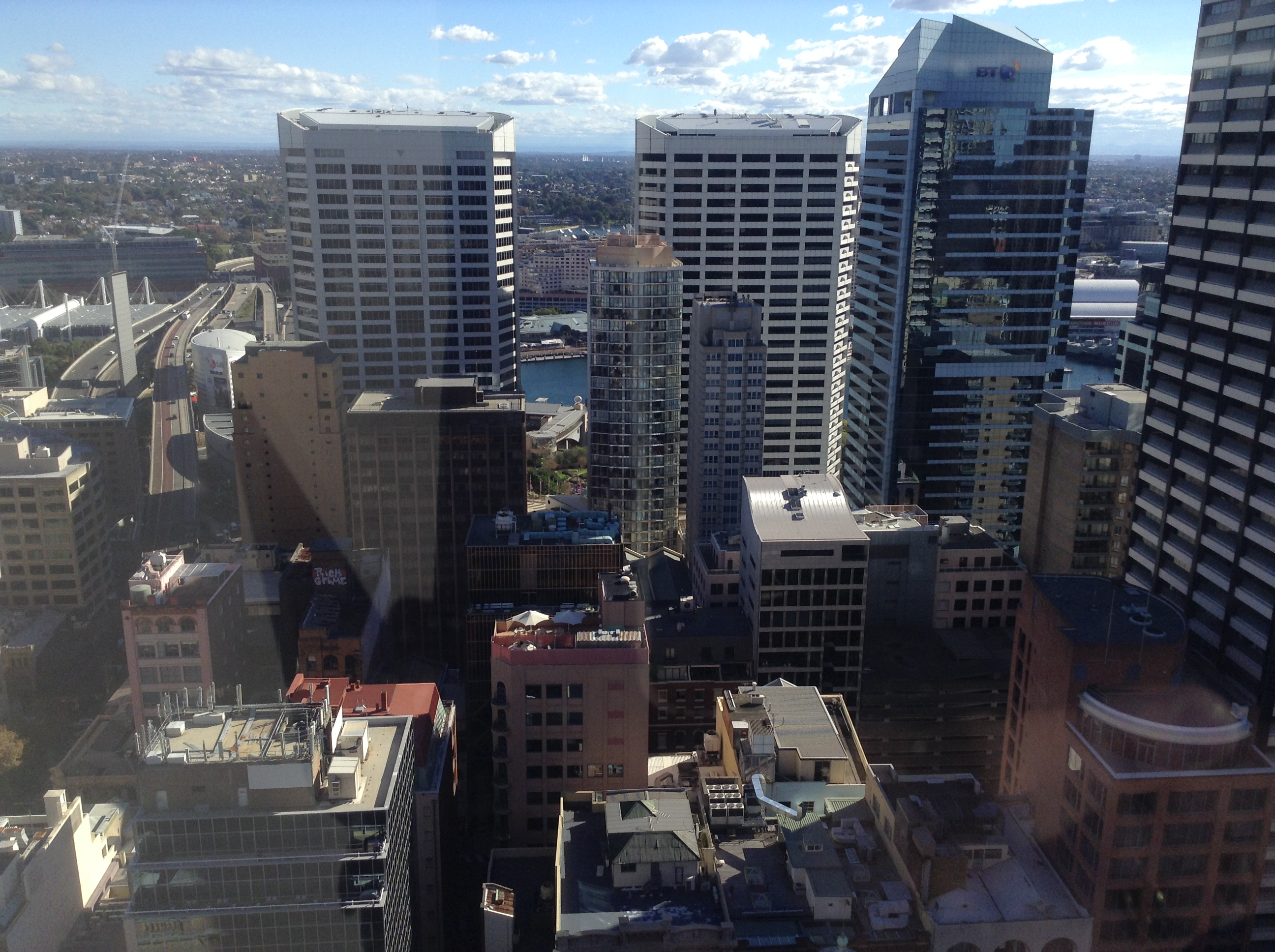Looking west across Sydney from a 36th floor downtown